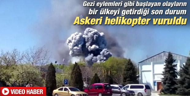 Ukrayna ordusuna ait helikopter patlatıldı