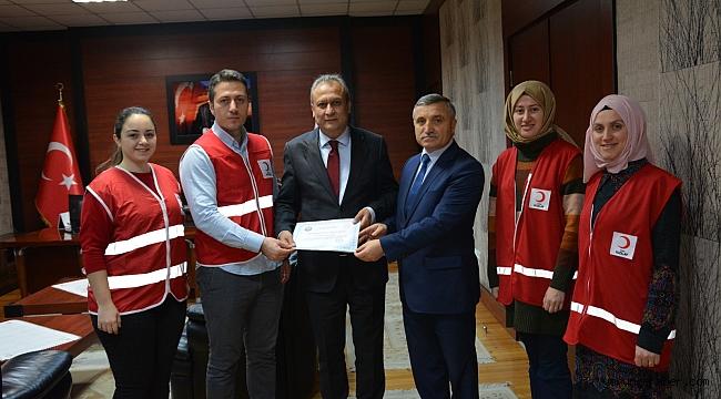 Kaymakam Partal'dan Kızılay'a teşekkür belgesi